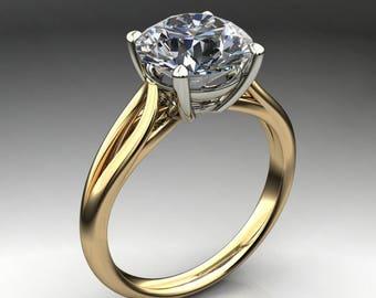 victoria ring - 1.5 carat diamond cut round NEO moissanite engagement ring, two tone ring