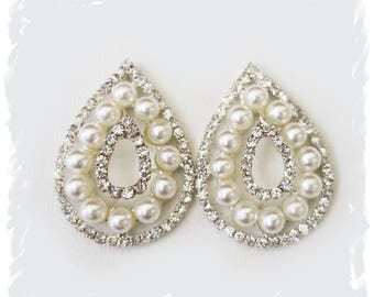 Old Hollywood Glamour Pearl Crystal Drop Bridal Stud Earrings Large Wedding Earrings Downton Abbey Bridal Jewelry