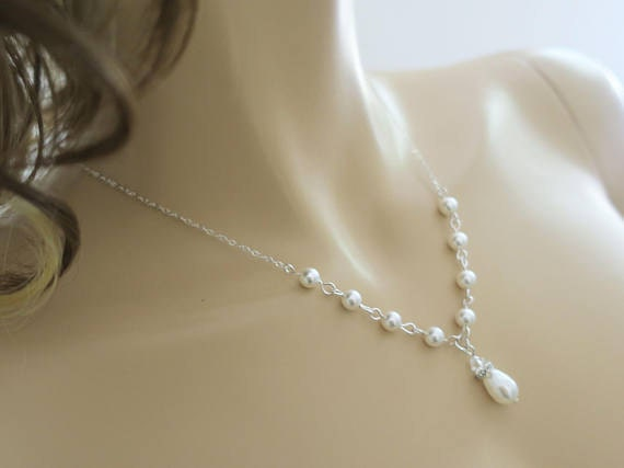 Sterling silver Bridal necklace with Swarovski pearl and crystal
