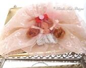 Retro Girl Art Doll Handbag Clutch Nancy Ann Doll Face  Frilly Girly Evening Bag One-of-a-Kind Mixed Media Art Purse