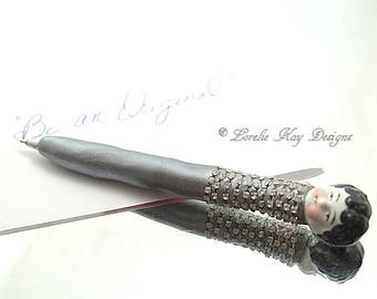 Frozen Charlotte Doll Head Pen Functional Art Writing Refillable Pen Lorelie Kay Designs Original