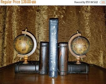 30% OFF Vintage 1960's Spinning Olde World Globe Wood Bookends