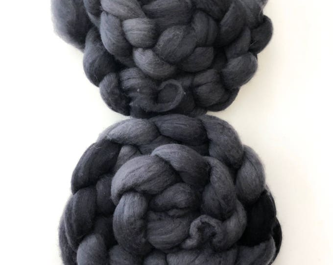 Kettle dyed merino wool top. Super soft  19.5 micron count. 8oz. Charcoal