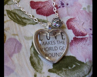 LOVE Makes The World Go Round, original art pendants, gift boxed,Valentine's Day gifts, Valentine jewelry, love,heart pendants, bridal gifts