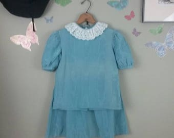 Vintage 80s blue more taffeta 2 piece set - girls - ruffle lace collar