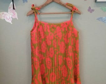 Vintage 60s neon orange Hawaiian floral print pleated top - Spaghetti straps - high tide label