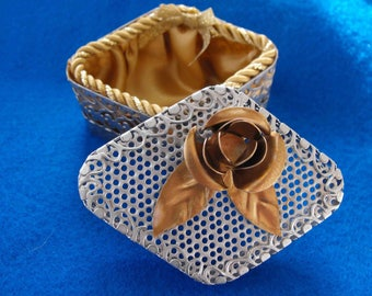 Vintage Trinket Box, Silver Open-Work and Mesh with Goldtone Rose and Gold Silk Lining, ca 1960 NT-218