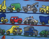 """SOLD!  1 and 1/4 yard of fleece fabric, Sewing, No Sew Fabric, Cars, Trucks, For Boys, 62"""" Wide, Sold By The Yard,"""