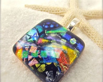 Dichroic glass necklace, Modern jewelry, rainbow dichroic pendant, fused glass art, artisan designs, handmade jewelry, rainbow necklace