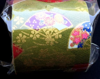 Japanese Fabric Tape - Light Green and Gold Tape - Flower Fabric Tape - Plum Blossoms - Cherry Blossoms - Folding Fans