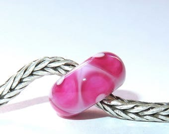 Luccicare Lampwork Bead - Pink VIII -  Lined with Sterling Silver