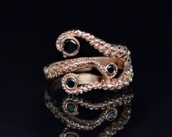 SALE SALE! Tentacle Ring, Wedding Band, Octopus Ring - Seductive 14K Tentacle Ring in Rose Gold and Black Diamonds by OctopusMe