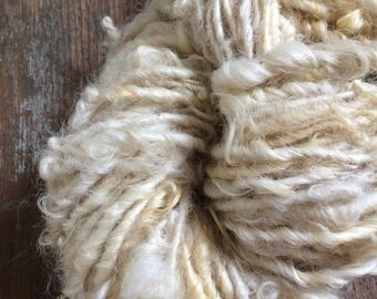 Reserved for Eeckenrode Creamy white Lincoln wool locks yarn, 36 yards, bulky chunky curly handspun, rustic art yarn, curly white yarn,