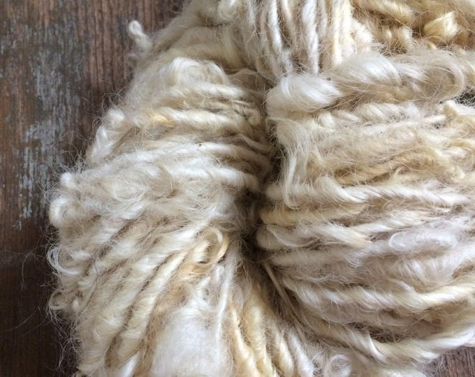 Reserved for Eeckenrode Creamy white Lincoln wool locks yarn, 36 yards, bulky chunky curly handspun, rustic art yarn, curly white yarn,