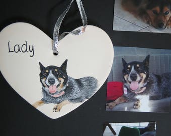 Pet Portrait Ceramic Ornament Hand Painted and Made to Order Using Your Photo by Shannon Ivins