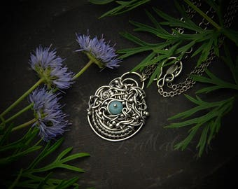 Agapanthe - unique handcrafted silver necklace with amazonite