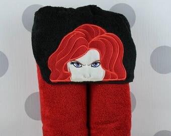 Adult Hooded Towel - Black Widow Hooded Towel – Black Widow Towel for Bath, Beach, or Swimming Pool