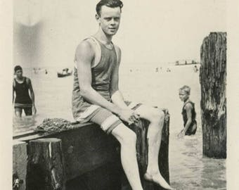 Vintage photo 1917 Young Man Woolen Swimsuit Sits Dock of Lake