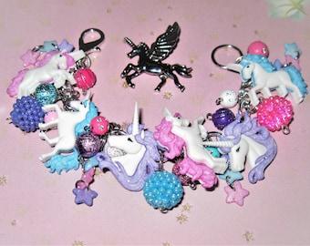 Unicorn Charm Bracelet, Unicorn Jewelry, Pink, Blue, Purple, Beads, Buttons, Fantasy, Magical, Chunky, Kawaii, Fairy Kei, Adult Teen, Tween