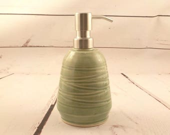 Ceramic Soap Dispenser - Stoneware Pump Jar - Lotion Pump - Handmade Pottery Gift - Kitchen Accessory - Ready to Ship - Celadon Green  h480