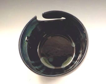 Yarn Keeper - Ceramic Yarn Bowl - Stoneware Skein Holder - Knitter Accessory - Lustrous Black with Blue Green - Mom or Grandma  Gift  v622