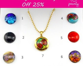 Sale - 18k plated gold - UNIQUE Necklace Set - Lampwork Jewelry - Glass Bead Jewelry - Interchangeable Necklace -Modern Jewelry