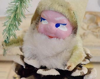 Vintage / Christmas Ornament / Gnome / Elf / Made in Japan / Flocked Paper Hat / Pinecone / Bump Chenille / Tree