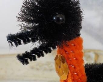 Vintage Style / Bump Chenille Halloween Crow / Vintage Craft Supplies / Free-Standing / Halloween / Black and Orange
