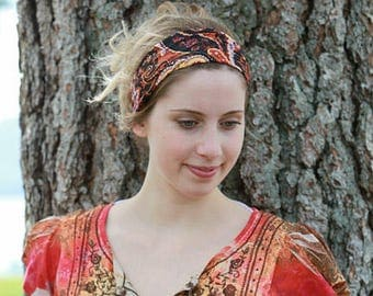 Boho Headband / Boho Head Band / Wrap Headband / Paisley Headband / Head Band / Hairband / Hair Band / Stretchable / Stretchy Headband Women