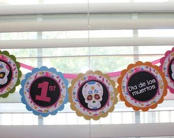 SUGAR SKULL Birthday Word Banner / Sugar Skull Birthday Banner / Sugar Skull Banner / Skull Banner / Skull Birthday Party / Day of the Dead