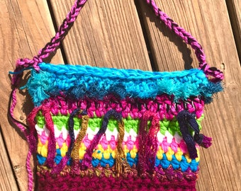 Crochet Boho Colorful Chunky Tot Bag Purse