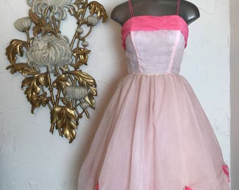 1950s dress party dress chiffon dress size small pink dress vintage dress full skirt dress 50s prom dress