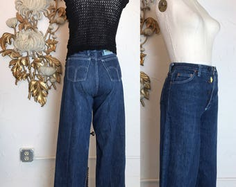 1970s jeans high waist jeans vintage jeans straight leg jeans 27 waist dark denim wide leg jeans size medium appaloosa western wear