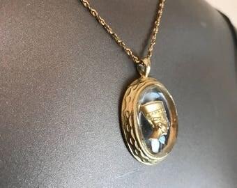 Vintage necklace nefertiti necklace intaglio necklace egyptian necklace nefertiti pendant vintage pendant goddess necklace egypt necklace