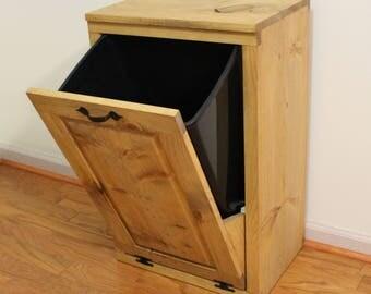 Tilt out Trash Can - Wooden Trash Bin - Wood Trash Box - Cabinet to hide Trash - Kitchen Garbage - Tip out trash can - Kitchen or Pet food