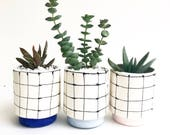 Window Pane Grid Handmade Planter Pot
