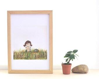 whimsical wall art, girl nursery decor, green grass, gift for gardener, classroom decor, etsyBABY, brown hair, green and brown, beilexian