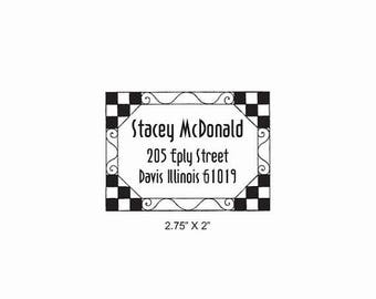 Xmas in July Checkerboard Tile Border Return Address Label Rubber Stamp AD380