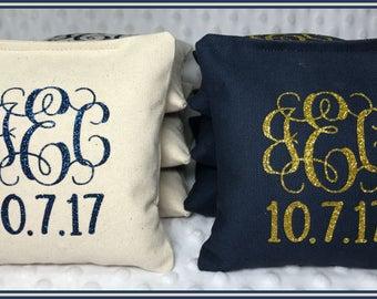 Cornhole Bags Wedding Personalized Set of 8 Cream and Navy Interlocking Vine font Glitter Heat Transfer Vinyl