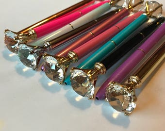Diamond Pen, Large Diamond Pen, Office Supply Metallic Pens with Oversize Diamond, Bling Pens, Fun Kawaii School Pens in Black Ink, Colorful