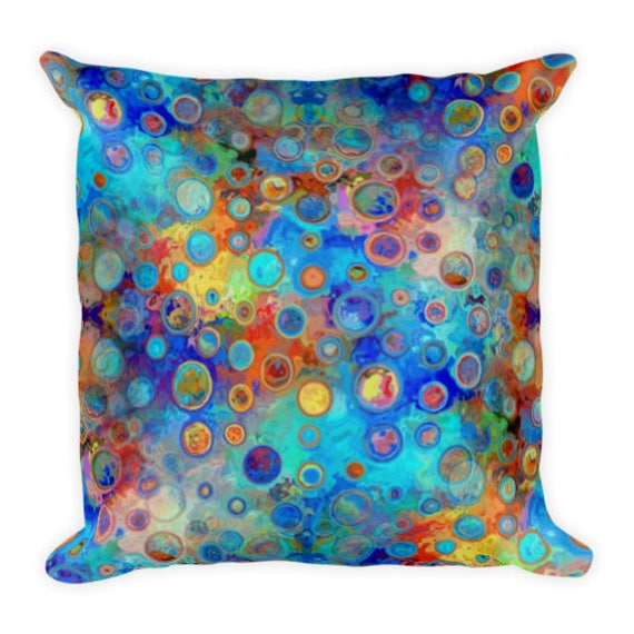 Handmade Throw Decorative Blue Polka Dot Designer Artist Created Pillow 18 inch Square with Zipper and Insert