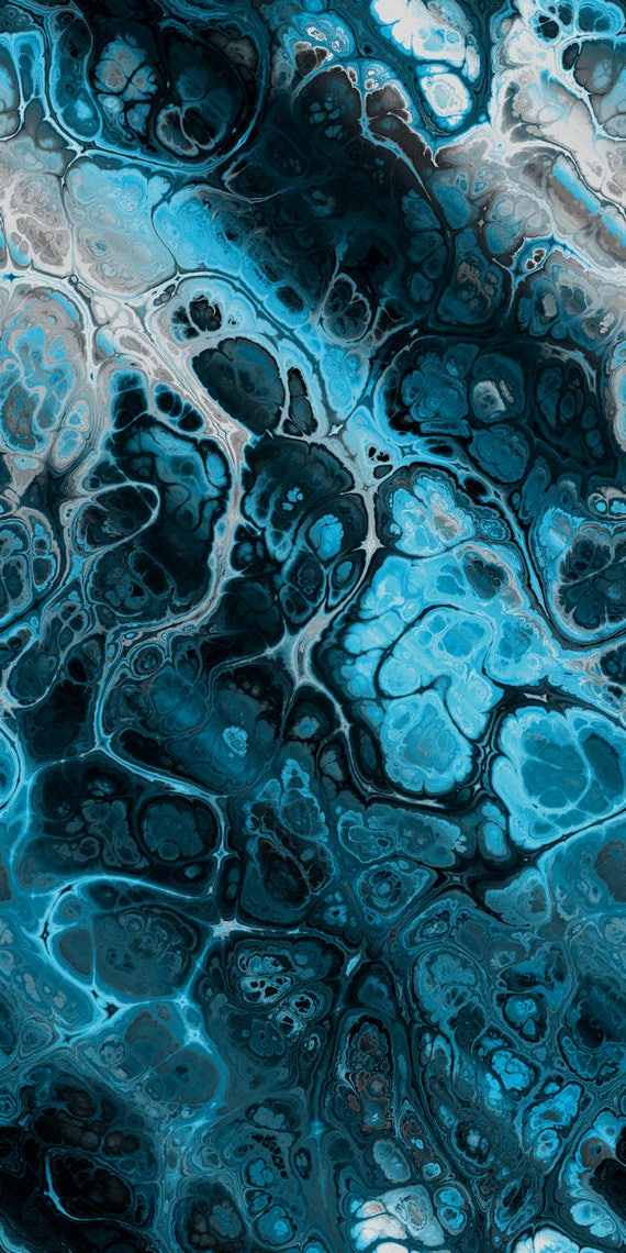 Artist Made Cotton Quilting Fabric Panel Abstract Marble Blue Teal Lightening Storm Fiber Art