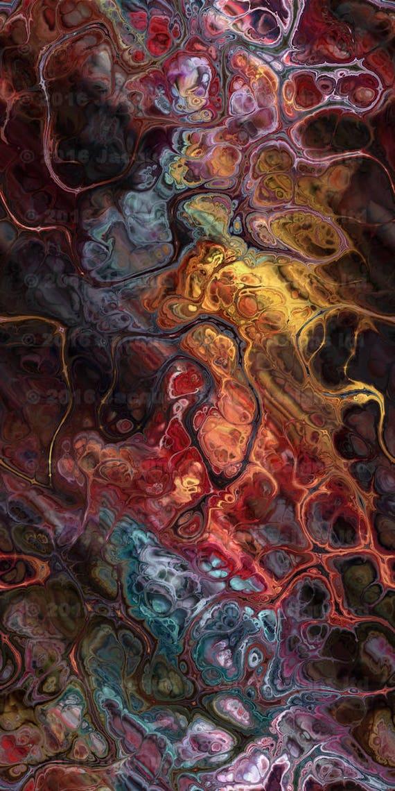Brown Red Gray Artist Made Luxurious Minky Fabric Fiber Art Mixed Media Fabric