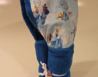 Cinderella on a blue hooded towel