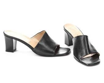 BLACK MULES Sandals 90s Slingback Slip On Sandals Real Leather Sliders Summer Shoes Open Toe Club Kid Chunky Heels Eur 37, Us 6.5 , Uk 4