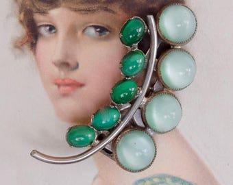 Vintage Dress Clip Rhinestones 1930s Green Glass Cabochons