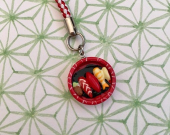 Assorted Sushi Box Hanging Decoration, Sushi Strap, Sushi Zipper Charms, Cute Gift, Sushi Lover, Food Strap, Birthday Treat, Birthday Gift