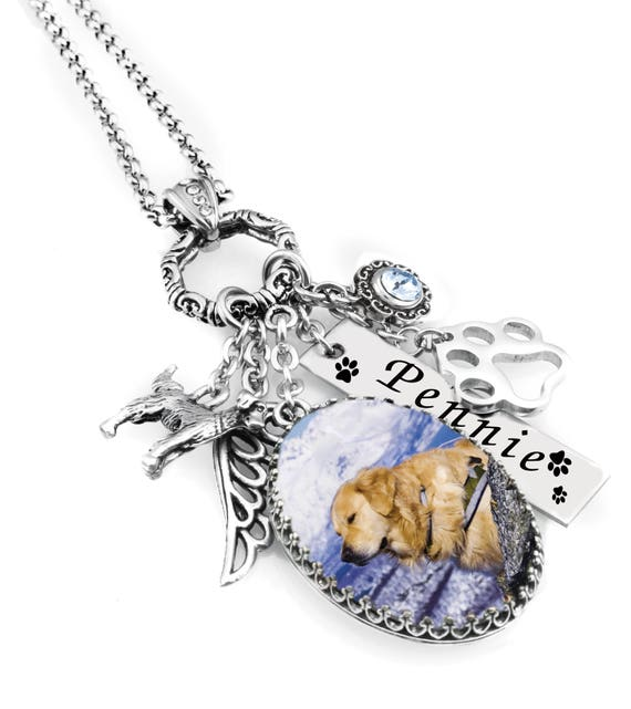 Loss of Pet, Dog Photo Necklace, Dog Photo Memorial, Pet Remembrance, Stainlesss Steel