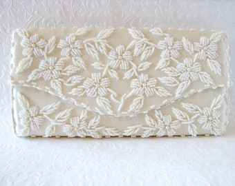 Floral Ivory Beaded Envelope Clutch White Pearl Glass Bead Wedding Purse Formal Evening Bag Flower Bridal Handbag Vintage Bride Hong Kong