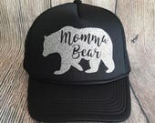 Momma Bear Glitter Iron-on Decal for DIY Trucker Hat or T-shirt, Glitter Vinyl Iron-On Applique, Iron-on Only